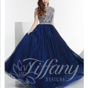 NAVY BEADED BALLGOWN